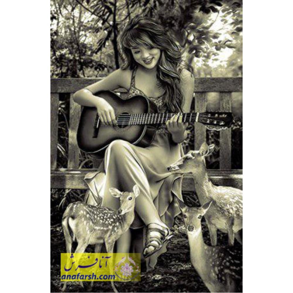 Guitarist girl tableau carpets