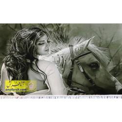 تابلو فرش دختر و اسب کد 11213
