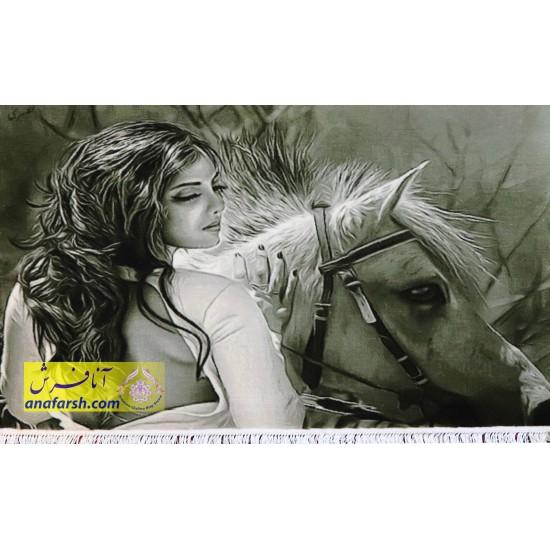 تابلو فرش دختر و اسب