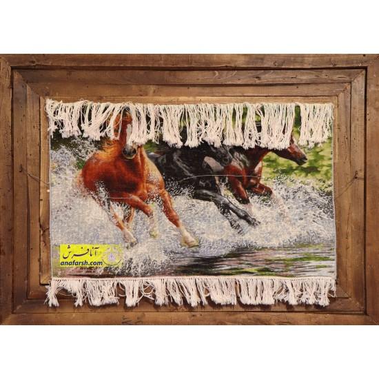 تابلو فرش اسب های وحشی