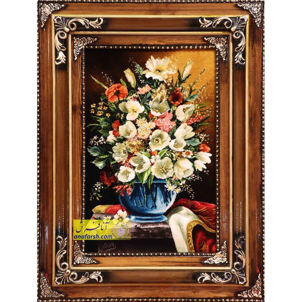 تابلو فرش دستباف  گل و گلدان  شیشه ای