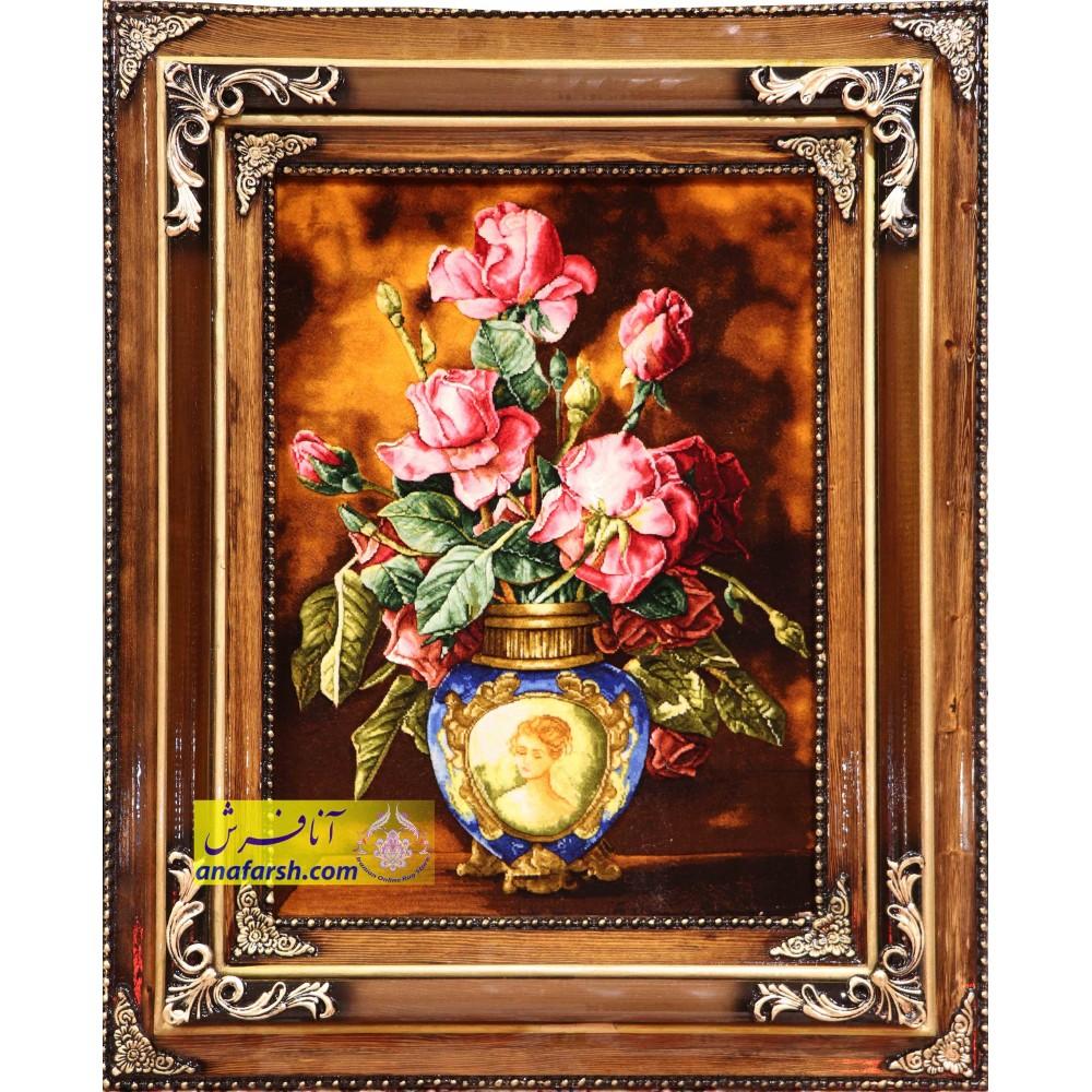 تابلو فرش گل و گلدان برجسته