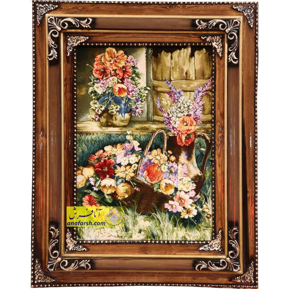 تابلو فرش دستباف  سه گل و گلدان