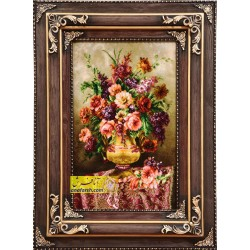 تابلو فرش گل و گلدان کد 11266