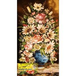 تابلو فرش گل و گلدان طولی
