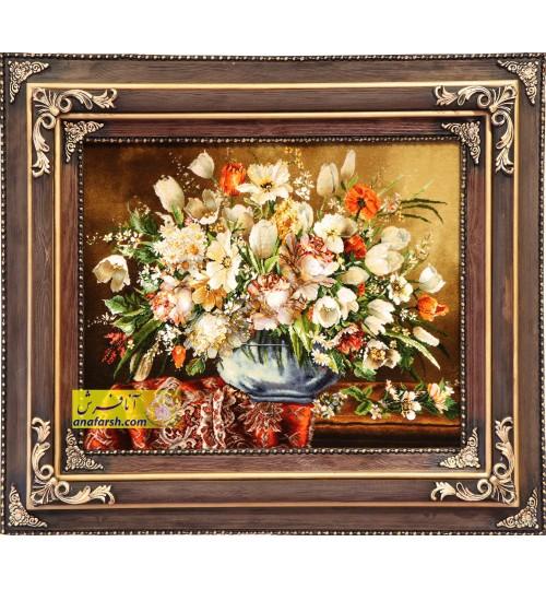 تابلو فرش گل و گلدان شیشه ای
