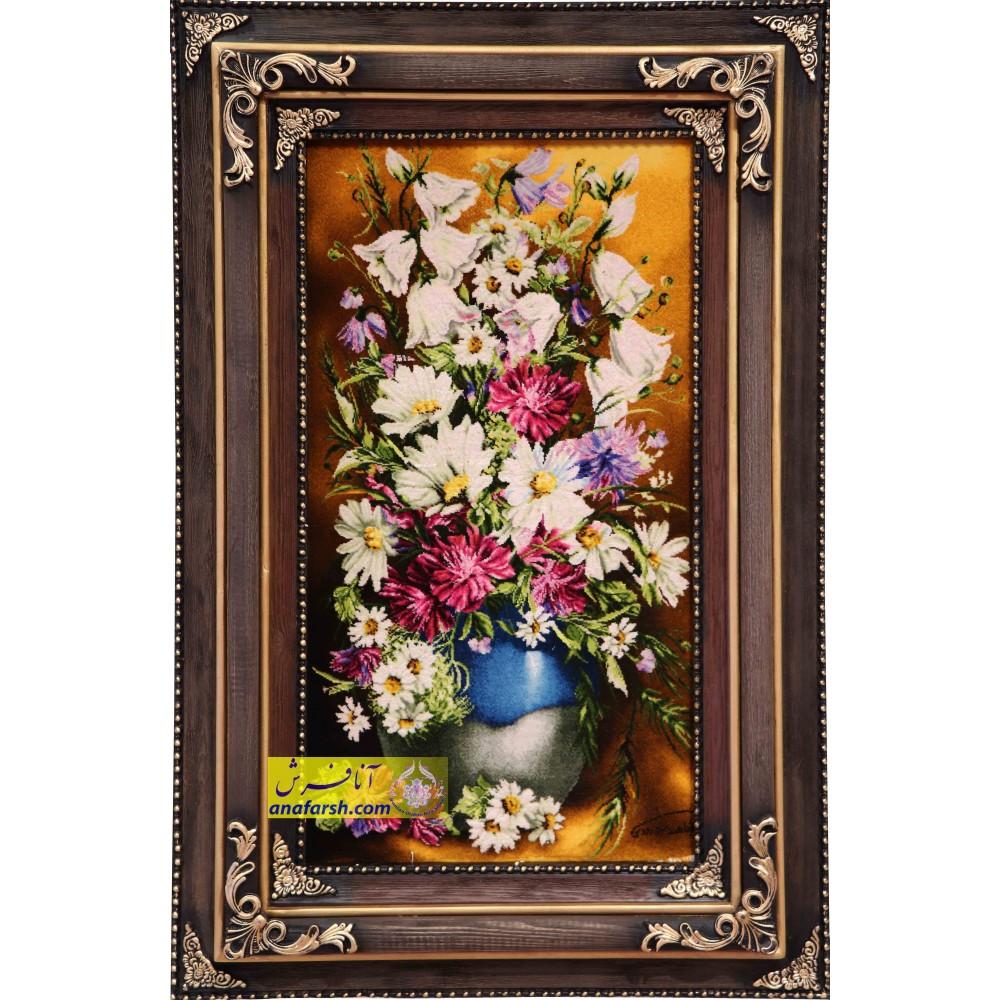 تابلو فرش دستباف  گل و گلدان