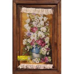 تابلو فرش گل و گلدان طولی کد 11271