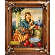 تابلو فرش دختر قاجار کد 11274