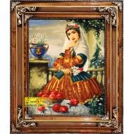 تابلو فرش دختر قاجار کد 11275