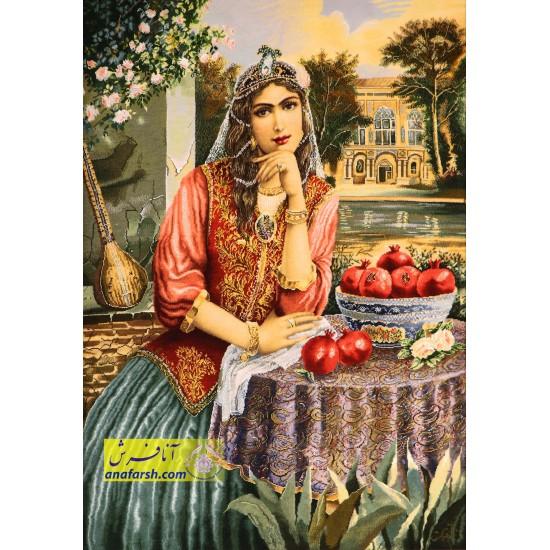 تابلو فرش دختر قاجار