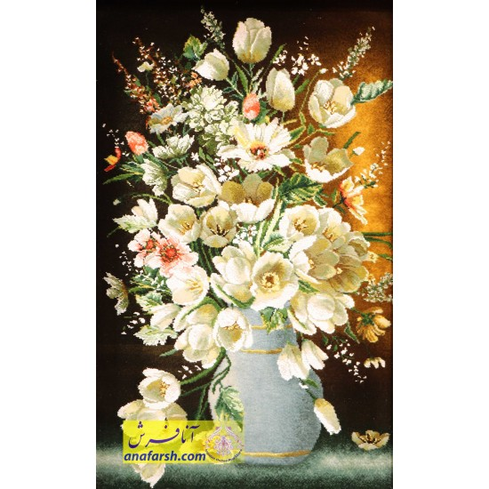 تابلوفرش گل و گلدان آبی