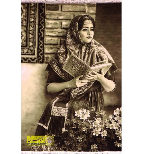 تابلوفرش دختر و گلستان سعدی