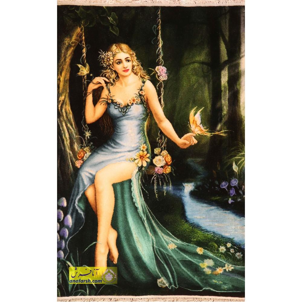 تابلو فرش دختر تاب باز کد 11513