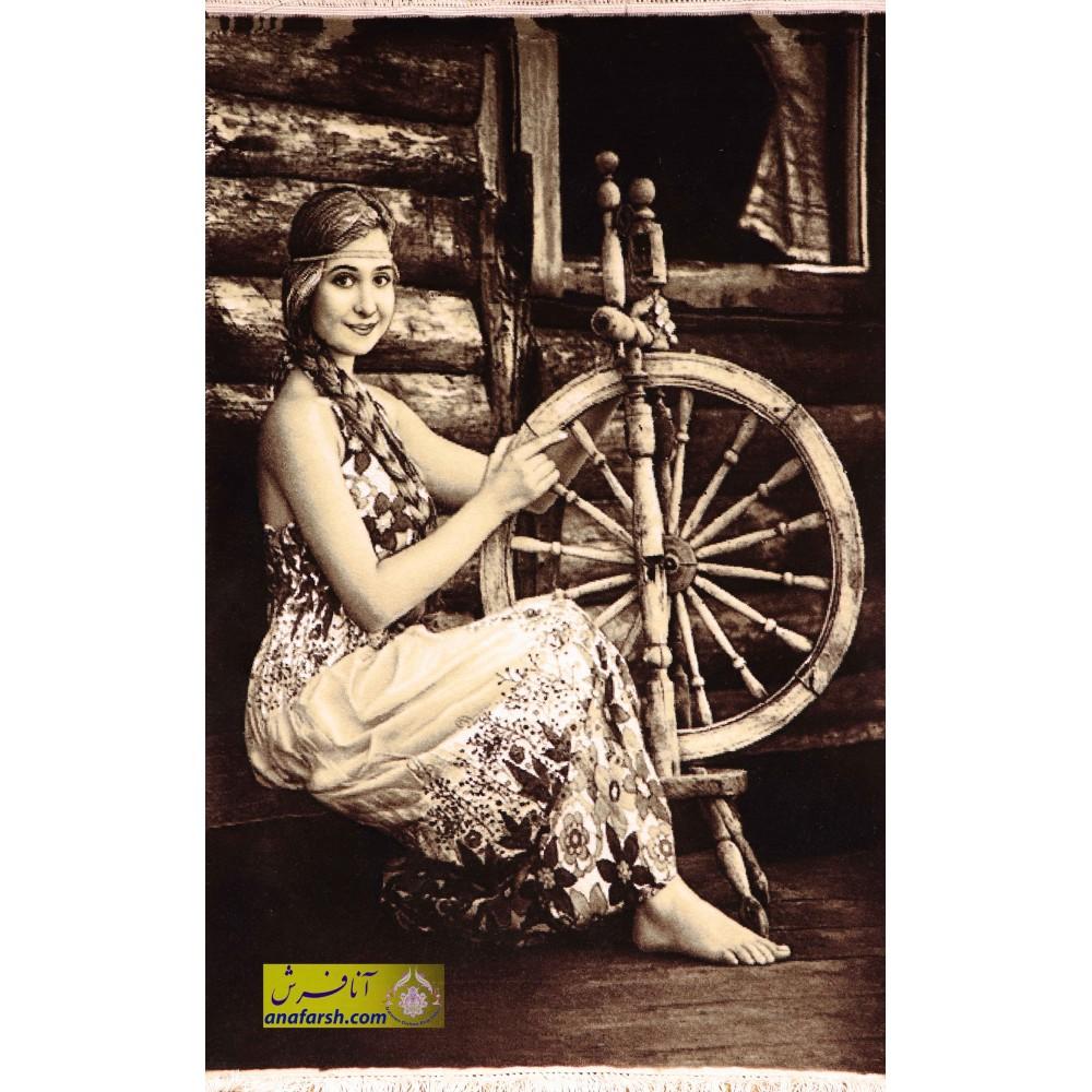 تابلوفرش دستباف دختر ریسنده
