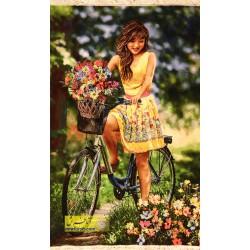 تابلو فرش دختر دوچرخه سوار کد 11319