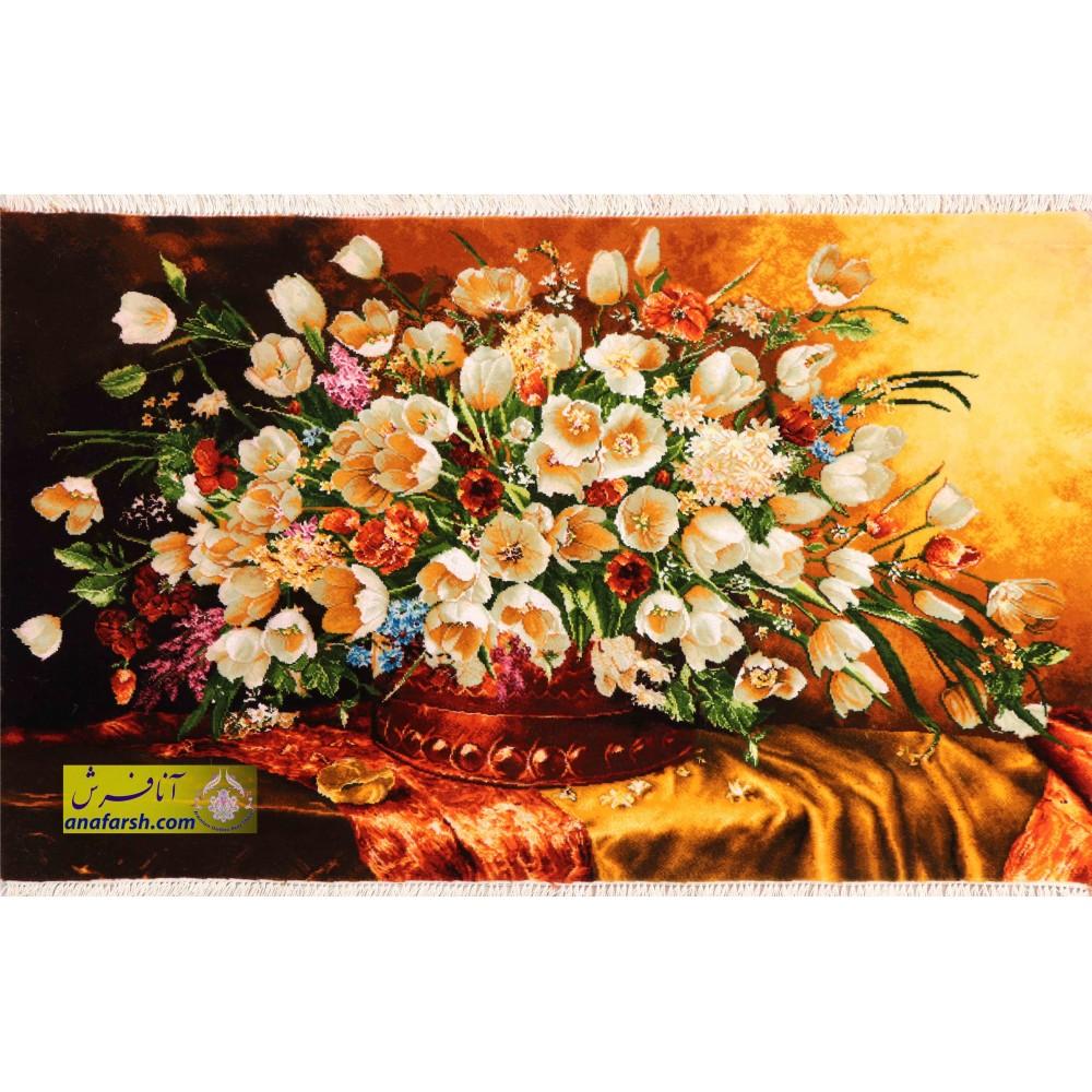 تابلو فرش گل و گلدان مسی