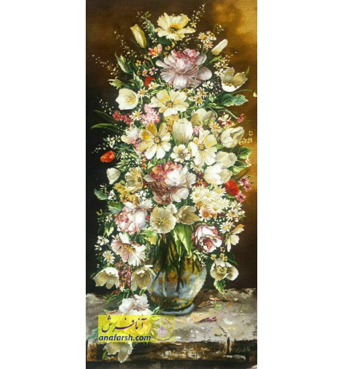 تابلو فرش گل و گلدان