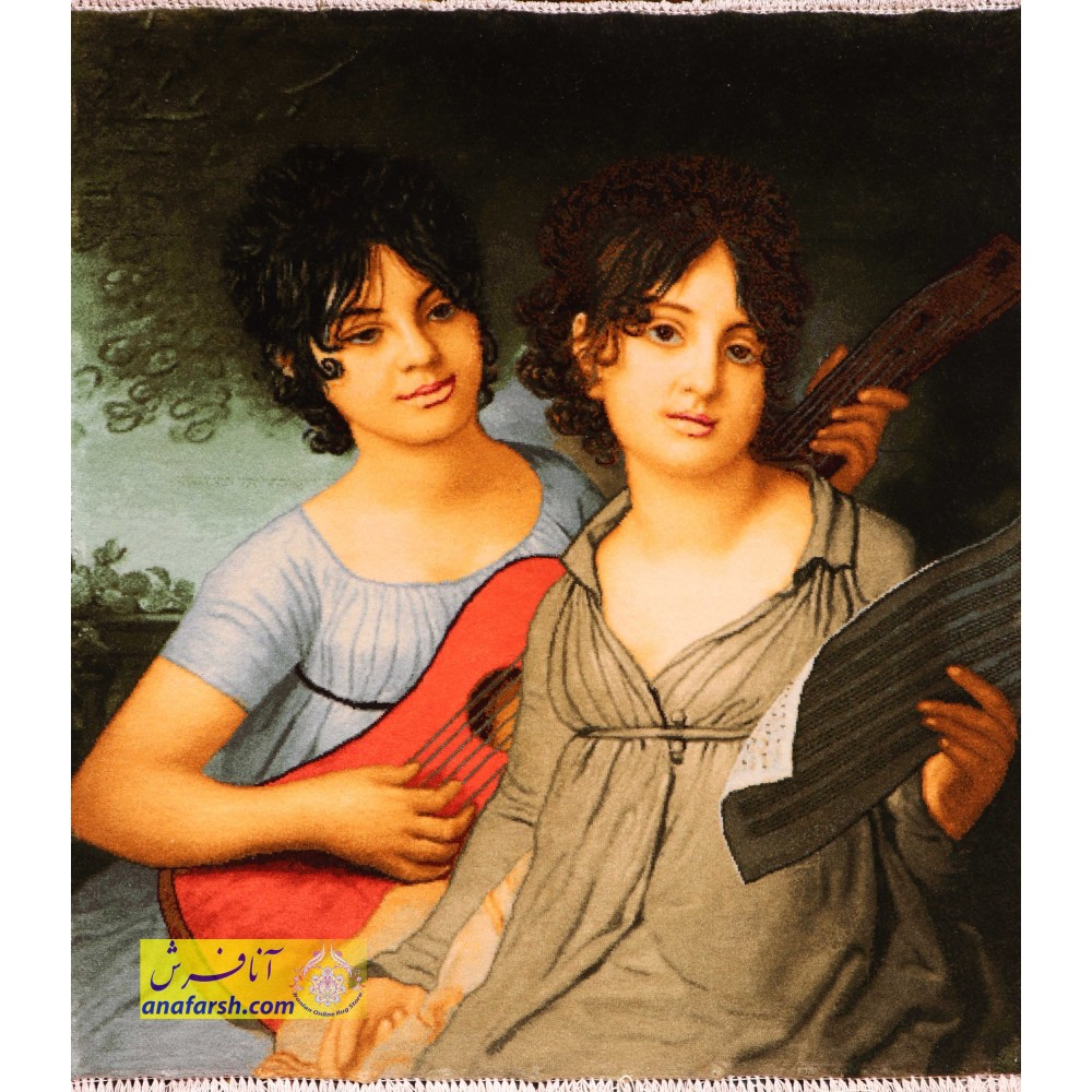 تابلو فرش دو خواهر گیتارزن