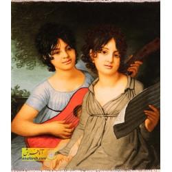 تابلو فرش دو خواهر گیتار زن کد 11389