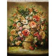 تابلو فرش گل و گلدان کد 11413