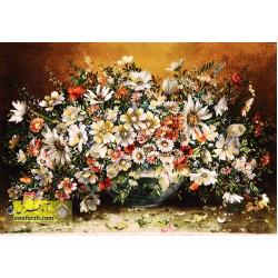 تابلوفرش گل و گلدان شیشه ای