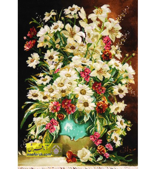 تابلوفرش گل و گلدان سفالی
