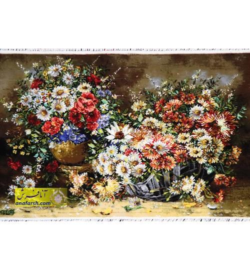 تابلوفرش دو گلدان بابونه