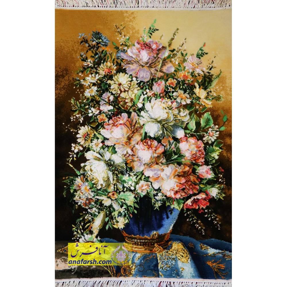 تابلوفرش گل و گلدان آبی کد 11460