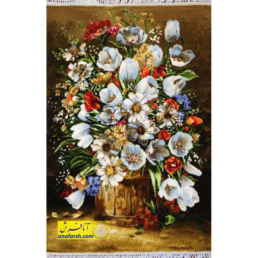 تابلوفرش گل و گلدان چوبی کد 11461