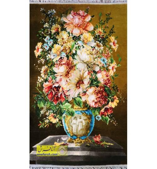 تابلوفرش گل و گلدان آبی کد 11462