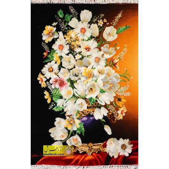تابلو فرش گل و گلدان کد 11468