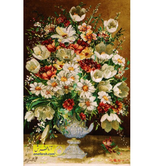 تابلوفرش گل و گلدان سنگی کد 11483