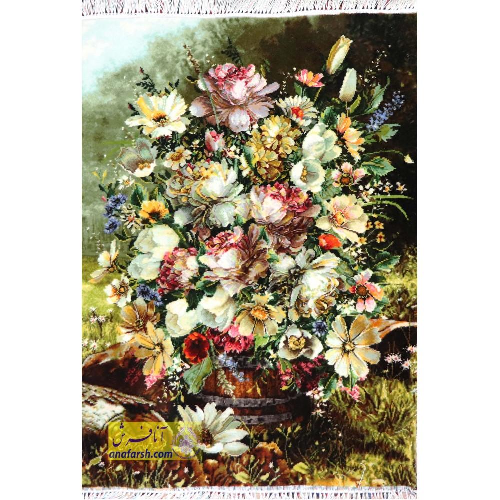 تابلوفرش گل و گلدان چوبی کد 11493