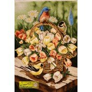 تابلو فرش سبد گل و پرنده کد 11503