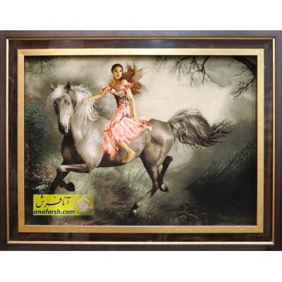 تابلو فرش دختر  اسب سوار کد 11509