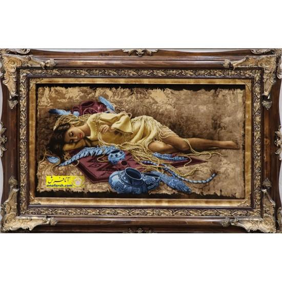 تابلو فرش دختر جواهرفروش کد 11511