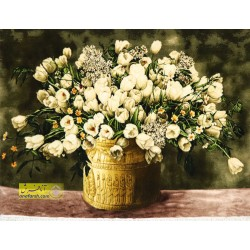 تابلوفرش گل لاله سفید کد 11515