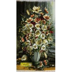 تابلوفرش گل لاله سفید کد 11521