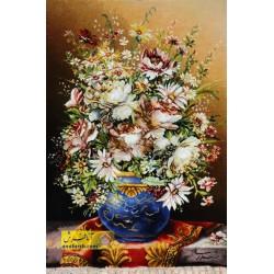 تابلوفرش گل و گلدان آبی کد 11522