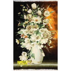 تابلوفرش گل لاله سفید کد 11525