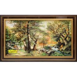 تابلو فرش منظره جنگل کد 11528