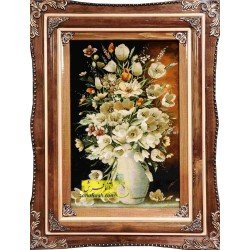 تابلوفرش گل و گلدان آبی کد 11545