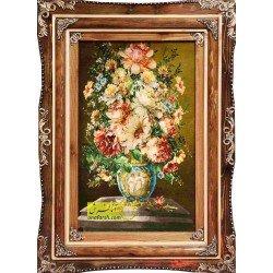 تابلوفرش گل و گلدان آبی کد 11546