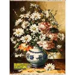 تابلوفرش گل و گلدان آبی کد 11550