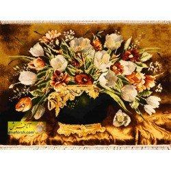 تابلوفرش گل و گلدان مشکی کد 11552
