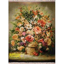 تابلو فرش گل و گلدان کد 11553