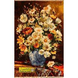 تابلوفرش گل و گلدان آبی کد 11554