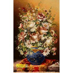 تابلوفرش گل و گلدان آبی کد 11555