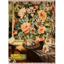 تابلوفرش گل و گلدان کد 11559